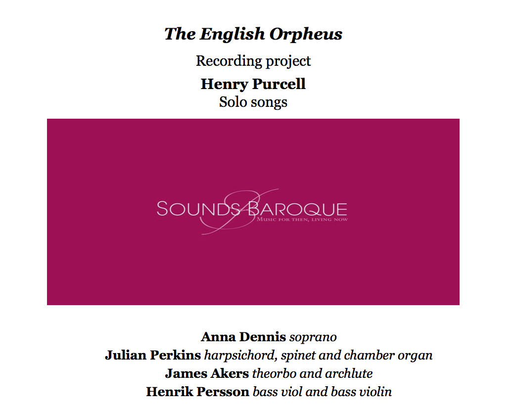 SOUNDS BAROQUE Purcell Solo Songs project